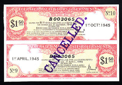 1945 Federated Malay States Government War Loan Certificate $1.50 UNC