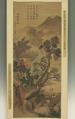 "掛軸1967 CHINESE HANGING SCROLL ""Flying Birds and Pine Landscape""  @f515"