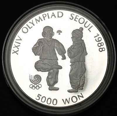 1987 Korea-South 5000 Won  Sterling Silver Seoul Olympiad Chegi - Kicking Proof