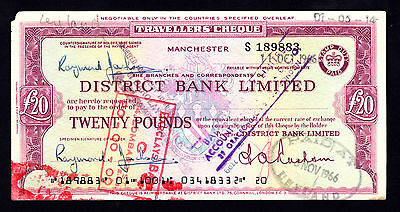 England District Bank Limited 20 Pounds Traveller's Cheque Manchester