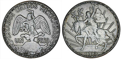 1913 Mexico 1 Peso Silver Coin Crown Size  KM# 453  Cry for Independence Rare