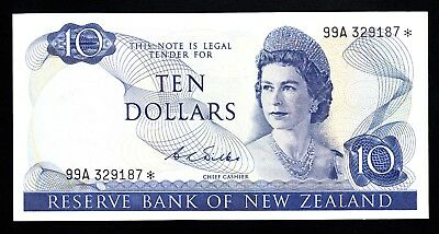 New Zealand $10 Wilks 1968-75  Star Notes 99A aEF P. 166b QEII  RARE