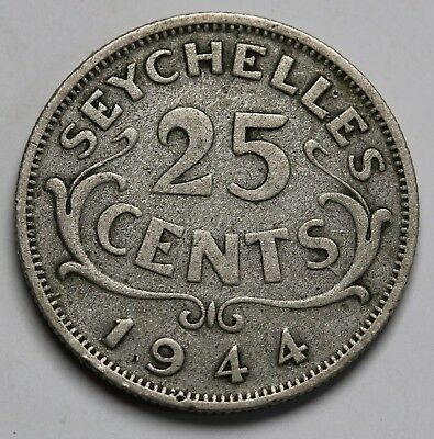 1944 Seychelles Silver 25 Cents George VI Coin KM# 2 Low Mintage 36k  RARE
