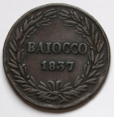 1837 B Italian States PAPAL STATES Baiocco KM# 1320 Gregory XVI Coin