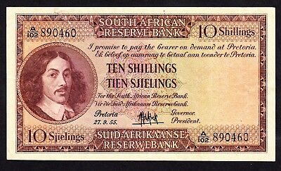 1955 South Africa 10 Shillings Note VF P. 90c