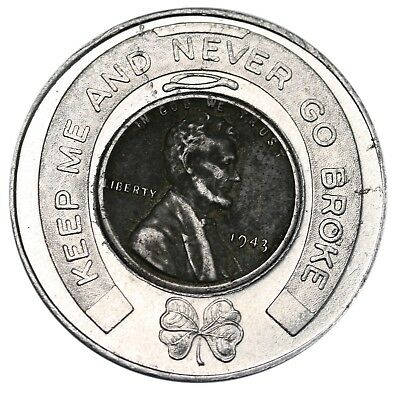 """US 1943 Steel Cent Encased Good Luck Penny """"Keep Me And Never Go Broke"""" Rexall"""