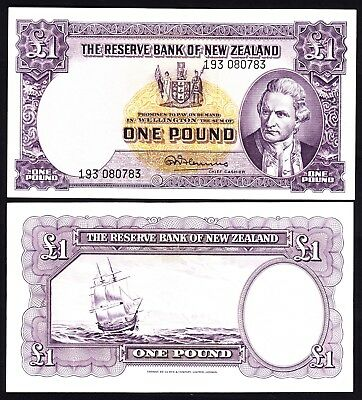 New Zealand NZ  1 Pound - Fleming ND (1956-67) w/ Thread P. 159d  VF/+ Note