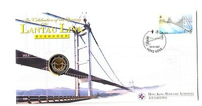 1997 Hong Kong PNC Cover Lantau Link Bridge $10 BU Coin Rare Bi-Metallic