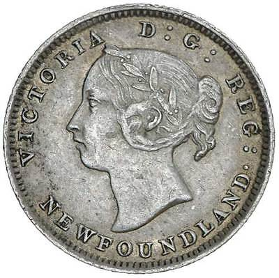 1890 Canada NEWFOUNDLAND 5 Cents KM# 2 Silver Coin RARE 160k Minted