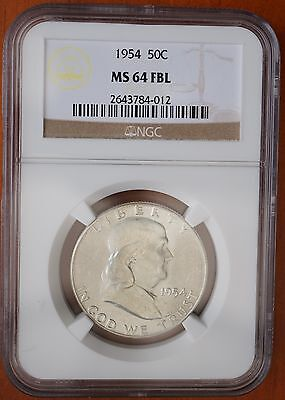1954 US Franklin Half Dollar 90% Silver NGC MS64 FBL Full Bell Lines