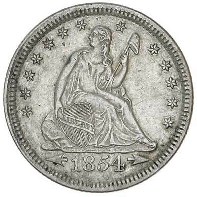 1854 US Seated Liberty Quarter 90% Silver Coin Arrows  gEF/AU  KM# 81 Rare