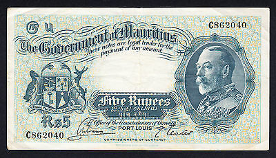 Government of Mauritius 5 Rupees ND (1930) C862040 P. 21 Scarce Note aVF/VF