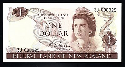 New Zealand $1 Dollar Wilks 1968-75  1st Prefix 3J  P. 163b  QEII Low # 925 UNC