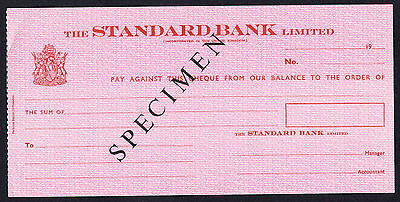 Rhodesia / UK Specimen The Standard Bank Limited Cheque Uniface