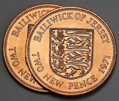 1971 Jersey Halfpenny 2 Pence Twopence - 2 Coins UNC/BU  Stunning Bronze Lustre