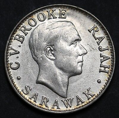 1927H Sarawak 20 Cents KM# 17a Silver  Charles V. Brooke Coin EF