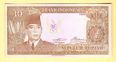 1960 Indonesia 10 Rupiah UNC Note P. 83 Prefix MAY