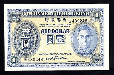 HONG KONG George VI One Dollar ND (1940) F/2 439248  P. 316 aUNC Note