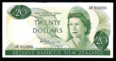 New Zealand  $20  20 Dollars ND 1967 Fleming P. 167a VF+ Note Rare QEII 910200
