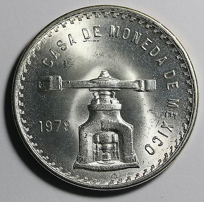 1979 Mexico Silver Unza 1oz  Large Coin KM# M49b  Luster+++++