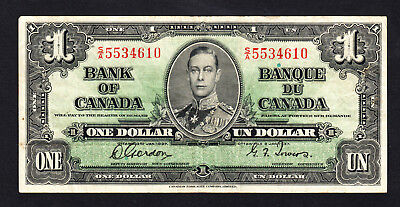 Canada $1 Dollar 1937 George VI Note Gordon Towers Crisp aVF