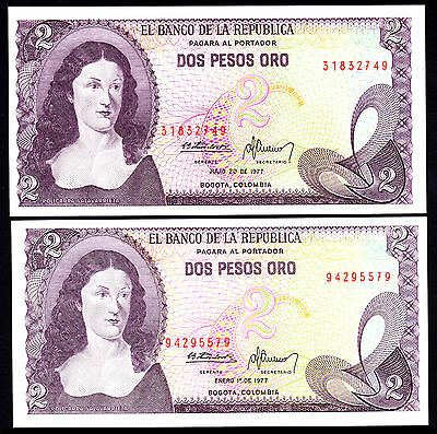 Colombia 2 Pesos Oro 2 UNC Notes January & July 1977 P.  413b