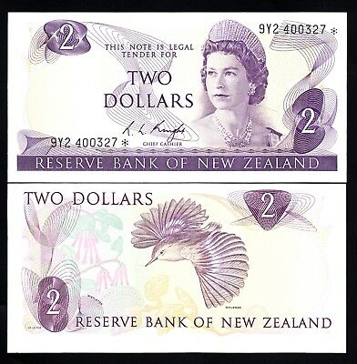 New Zealand NZ $2 2 Dollars Knight 1975-77 Star Replacement Note aUNC QEII  Y92