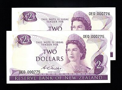 New Zealand $2 Wilks 1968-75 1st  Prefix OE0  P. 164b QEII RAREUNC Note Low#