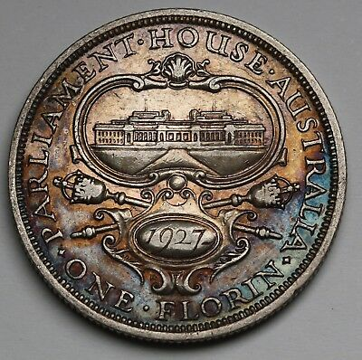1927 Australia Parliament Florin KM# 31 Sterling Silver Coin Nicely Toned