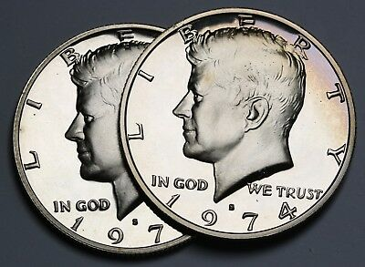 1974 S US Kennedy Half Dollar 2 Proof FDC Coins KM# 202b