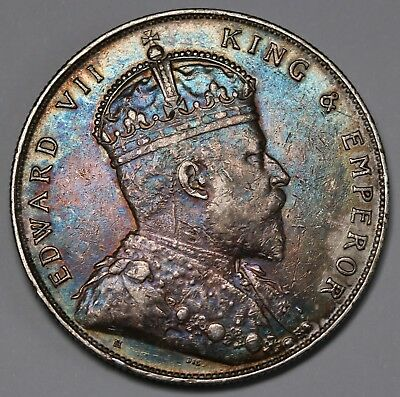 1907 Straits Settlements $1 Dollar KM# 26 Silver Edward VII Coin Toned RARE