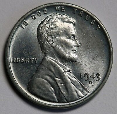 1943 D US  Cent Penny  - Steel Cent UNC/BU Coin KM# 132a