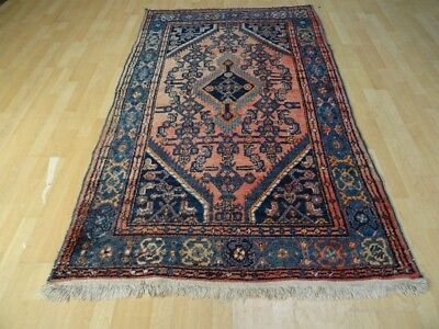"""PERSIAN CARPET RUG Hand Made in WOOL traditional Antique c 1930 7ft x 4ft 2"""""""