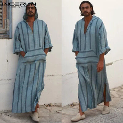 Mens Desert Dress Full Length Kaftan Dishdash Arab Robe Causal Hoodie Sleepwear