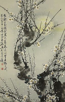 "掛軸1967 CHINESE HANGING SCROLL ""Moon and Ume Tree""  @f526"