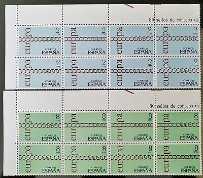 Spain 1971 Europa Blocks of 8 Sc # 1675 Sc # 1676 MNH Mint Stamps Collection #2