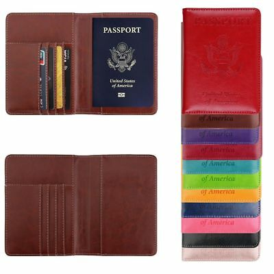 Leather Passport Case Holder RFID Blocking Travel ID Credit Card Wallet Cover CA