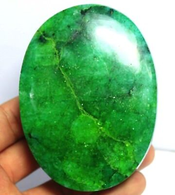 2075CT EGL Certified Natural Amazing Cabochon Oval Cut Green Emerald Gems AT4722