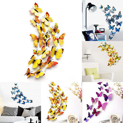 24Pcs 3D Butterfly Wall Decals Removable Sticker Wedding Nursery Decor Magnets