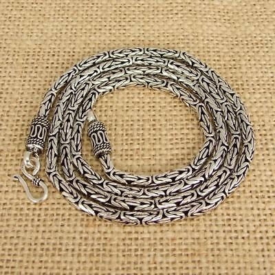 Heavy 925 Sterling Silver Bali Byzantine Borobudur Necklace Chain 3mm, Jewellery