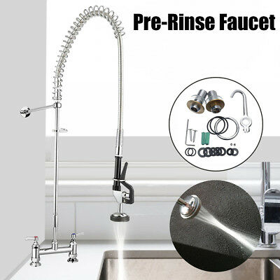 Pull Out Commercial Pre-Rinse Kitchen Faucet Sink Mixer Tap Wall Mounted