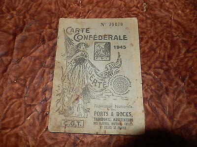 CARTE ADHERENT CGT MARSEILLE docks 1945 marine docker