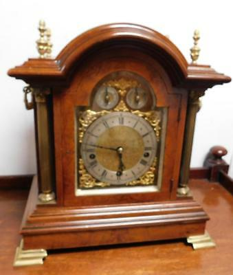 walnut cased westminster chimes bracket clock on coil gongs