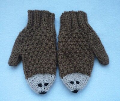 Brand New Hand Knitted Child's Hedgehog Mittens/Mitts age 2 - 4 yrs