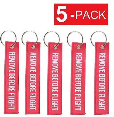 5-Pack REMOVE BEFORE FLIGHT Luggage Tag Label Key Chain Ring Aviation