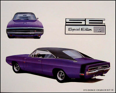 1970 Dodge Charger R/T SE Mopar Original Art Print Lithograph 70