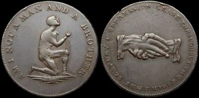 Conder Halfpenny Token, Anti-Slavery, Am I Not a Man and a Brother, D&H 1039a