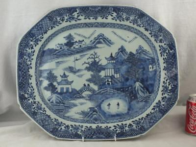 "Good Large 18.5"" 18Th C Chinese Porcelain Blue And White Platter"