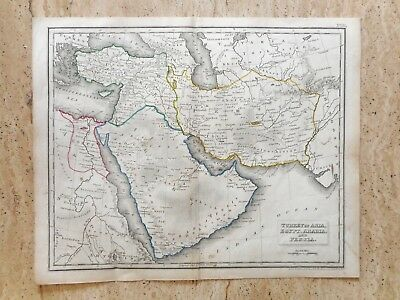 ANTIQUE HAND COLOURED MAP OF THE MIDDLE EAST by RUSSELL AND SONS. c 1820 PERSIA