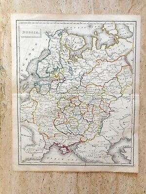 ANTIQUE HAND COLOURED MAP OF RUSSIA by RUSSELL AND SONS. c 1820